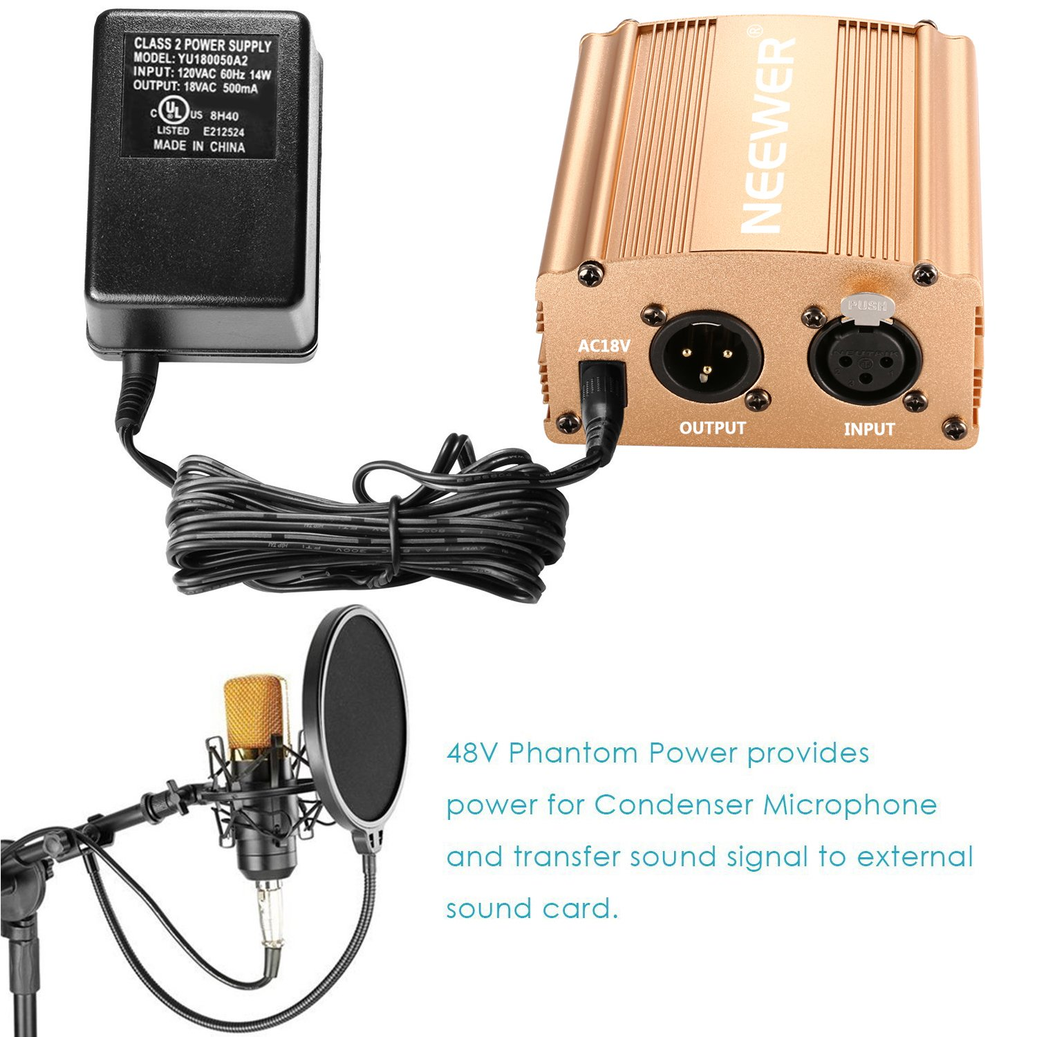 Neewer 1-Channel 48V Phantom Power Supply with Adapter and XLR Audio Cable for Any Condenser Microphone Music Recording Equipment (Gold) by Neewer