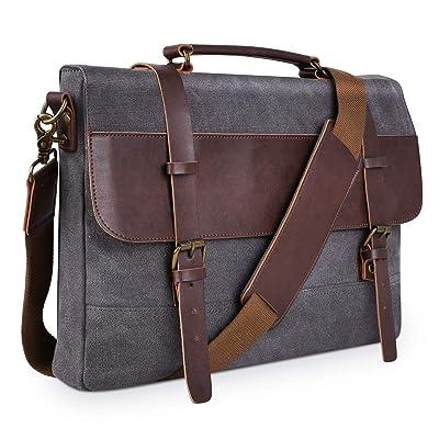 PRASACCO Canvas Messenger Bag Vintage Anti Thief Water Resistant Tactical Briefcases Crossbody School Travel Bag