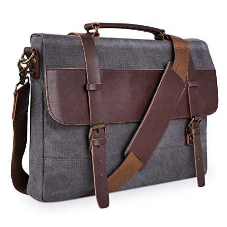 e734e5f5b7a9 Amazon.com  PRASACCO Canvas Messenger Bag Vintage Anti Thief Water  Resistant Tactical Briefcases Crossbody School Travel Bag with Shoulder  Strap for Men ...