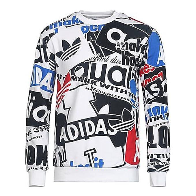 separation shoes 0b1ac 4dde1 Adidas Originals Men s Trefoil AOP Loud Crew Sweatshirt, X-Large, White