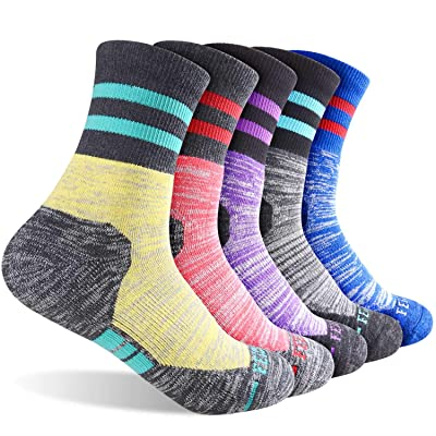 Women's Hiking Walking Socks, FEIDEER Multi-pack Outdoor Recreation Socks Wicking Cushion Crew Socks at Women's Clothing store