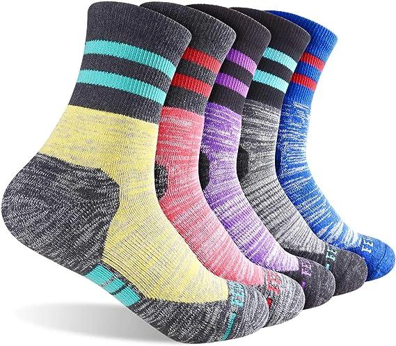 FEIDEER Multi-Pack Wicking Cushioned Outdoor Recreation Crew Socks Mens Hiking Walking Socks