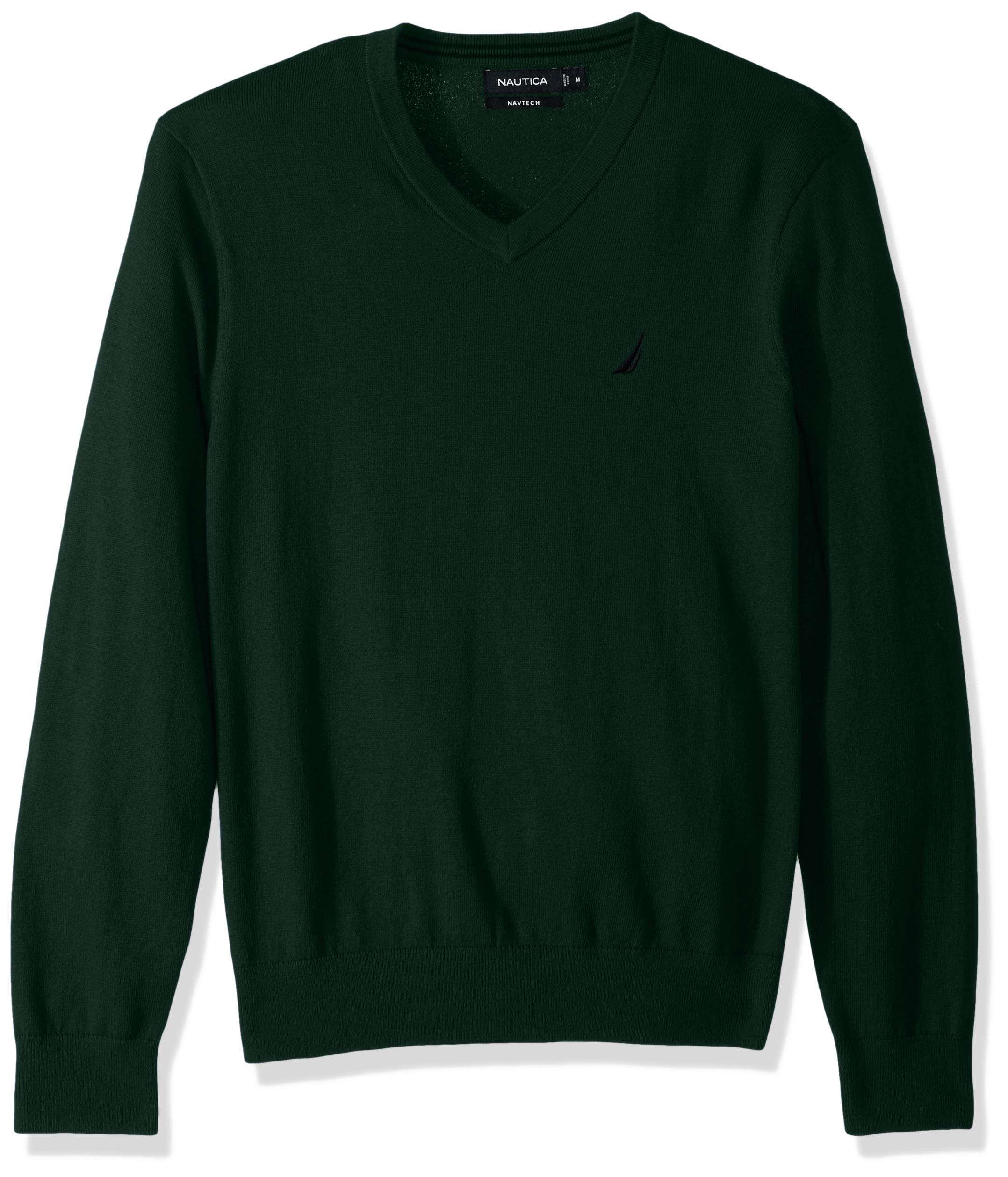 Nautica Men's Long Sleeve Solid Classic V-Neck Sweater, Tidal Green, X-Large