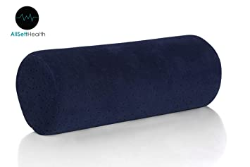 Bamboo Navy Round Cervical Roll Cylinder Bolster Pillow with Removable Washable Cover,...