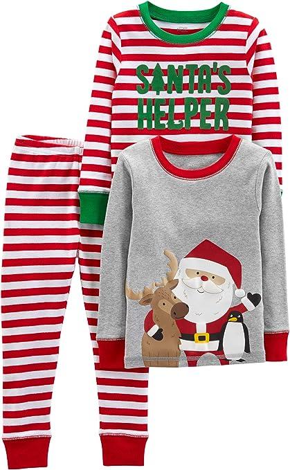Simple Joys by Carter's Baby Little Kid y Niños Bebé Conjunto de 3 Piezas de Pijama de algodón para Navidad
