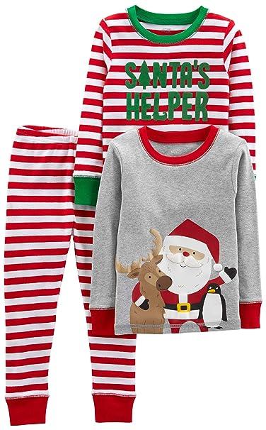 Toddler Boy Christmas Pajamas.Simple Joys By Carter S Baby Little Kid And Toddler Boys 3 Piece Snug Fit Cotton Christmas Pajama Set