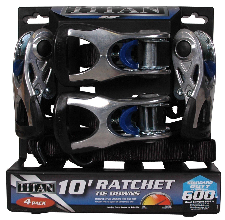 1157300 Titan Black 10 Ratchet Tie Down 4 Piece BLK:11573 Highland
