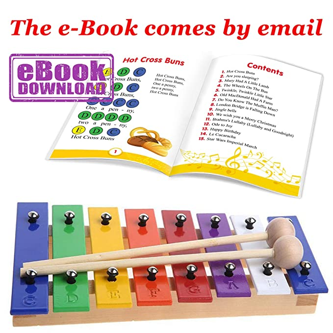 glockenspiel 8 notes color xylophone for kids with metal bars and wooden base amazon co uk musical instruments