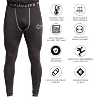 Fitup Life Men Full Pants Polyester & Spandex Compression- Black (Imported)