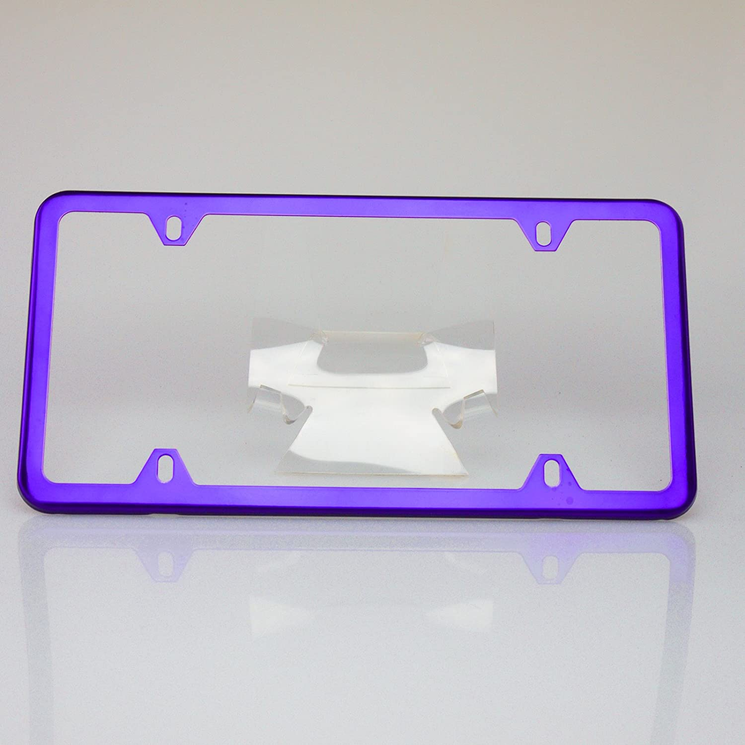 Circle Cool Matte White Powder Coated Stainless Steel License Plate Slim Four Hole Frame Holder Bracket