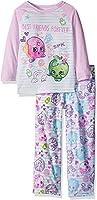Intimo Big Girls' Shopkins Bff Doodle L/s Raglan Top Microfleece Pant Pj Set