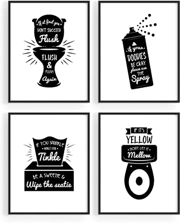 Amazon Com Funny Bathroom Signs Quotes Decor By Haus And Hues Set Of 4 Funny Bathroom Prints Bathroom Signs Decor Funny Bathroom Decor Wall Art Cute Bathroom Decor Signs Funny Bathroom