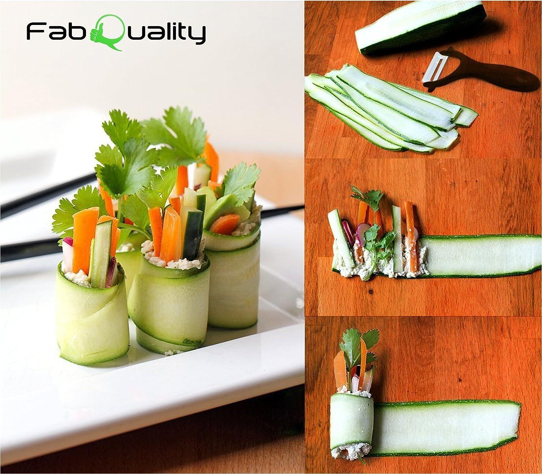 FabQuality Vendedor Premium Spiralizer Vegetal Veggetti Espiral Slicer COMPLETO BUNDLE x4 - Spiraliser Libro, Cortador de Vegetales, Libro espiral, Cepillo, Peeler, Verde: Amazon.es: Hogar