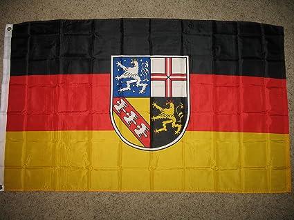 Amazon.com: 3 x 5 Saarland bandera de Alemania Estado alemán ...