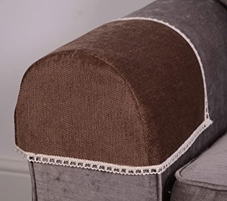 Pair Of Luxury MOCHA Brown CHENILLE Chair Arm Cover/Protector With Lace  Trim, Arm