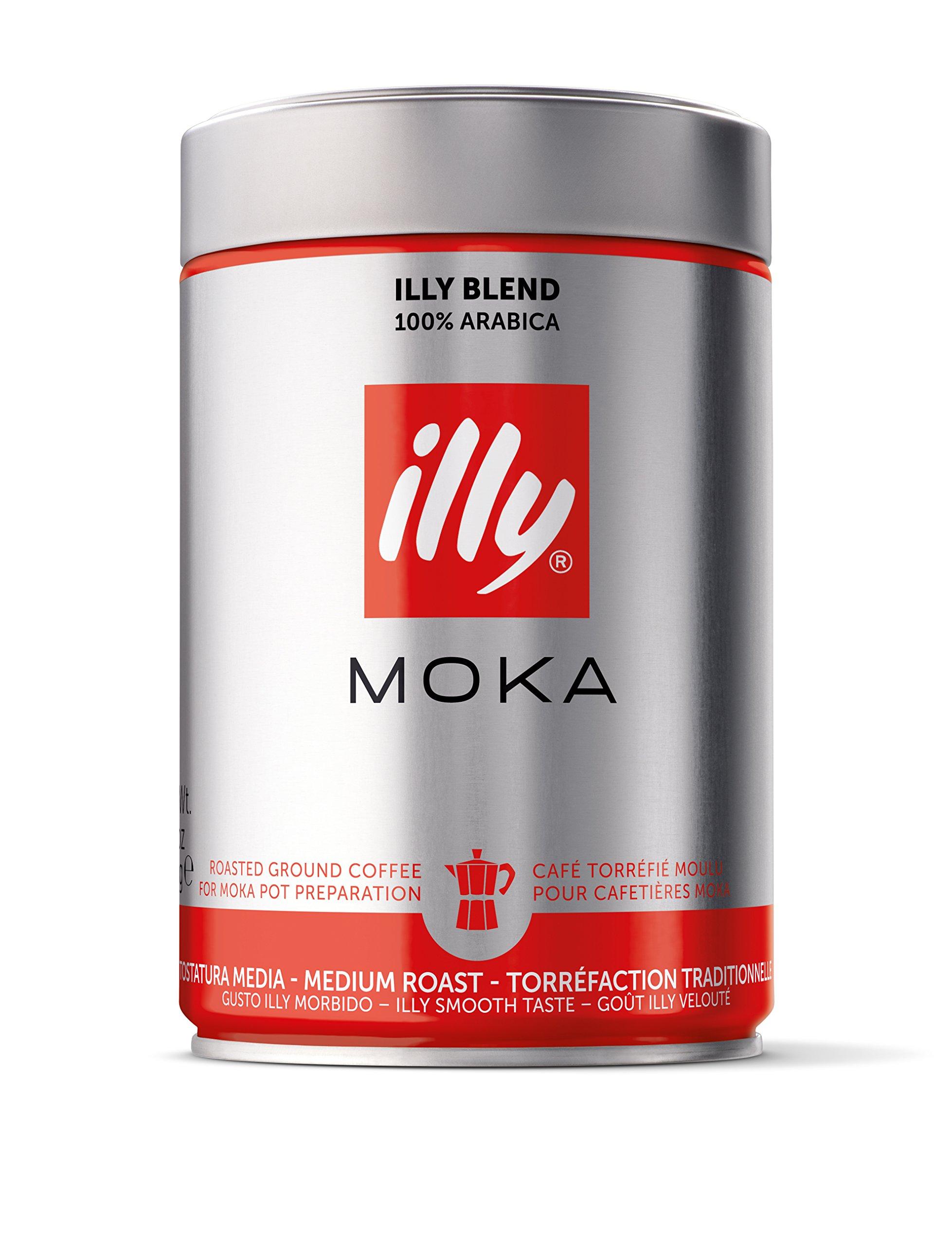 illy Coffee, Moka Ground, Medium Roast, 100% Arabica Bean Signature Italian Blend, Premium Gourmet Roasted Coffee, Pressurized Fresh 8.8 Ounce Tin, Stovetop Moka Pot Preparations.