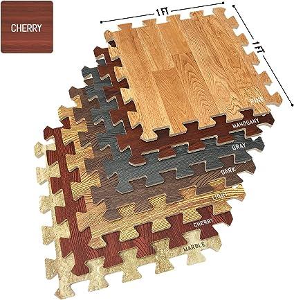 Amazon Com Sorbus Wood Floor Mats Foam Interlocking Wood Mats