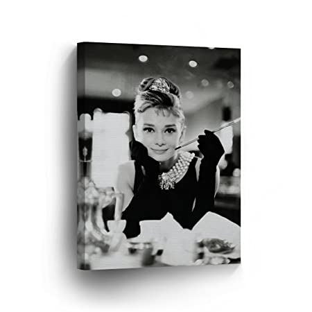 Audrey Hepburn Breakfast at Tiffany s Canvas Print Decorative Art Modern Wall D cor Artwork Wrapped Wood Stretcher Bars – Ready to Hang – 100 Handmade in the USA -AHV9-36×24