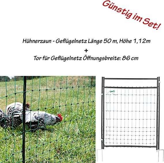 Geflügelzaun Geflügelnetz Weidezaun 0,90 m x 5 m schwarz Maschenweite 5 cm