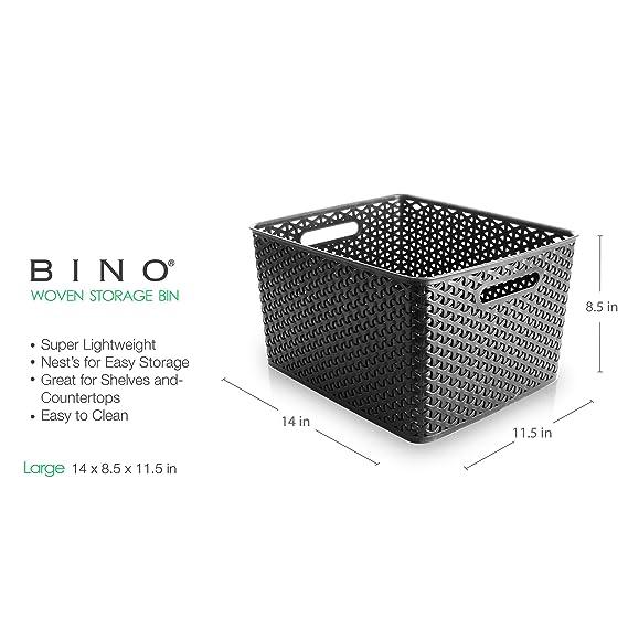 b31cfeef7aa62 Amazon.com - BINO T-Weave Woven Plastic Storage Basket, Large (Grey) -