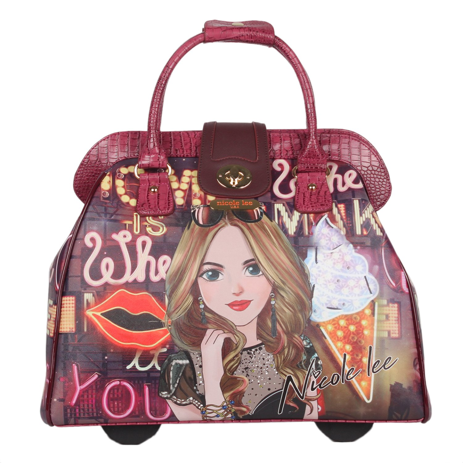 Nicole Lee Women's Fashion Print Rolling Business Laptop Compartment Travel Tote, Girl's Night Out, One Size