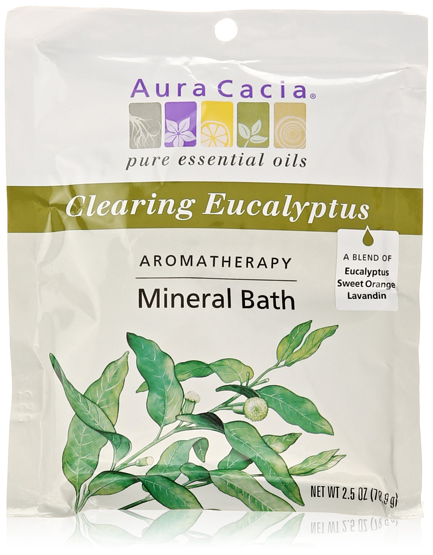 Aura Cacia Aromatherapy Mineral Bath, Clearing Eucalyptus, 2.5 ounce packet (Pack of 3)