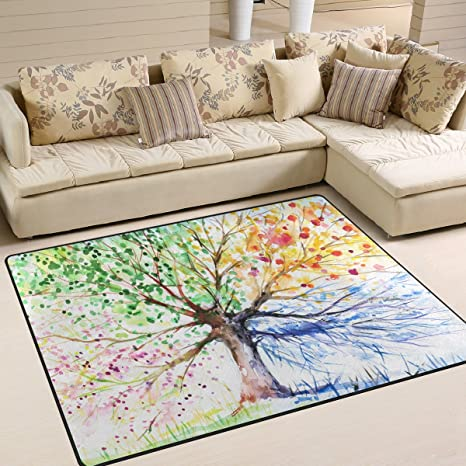 Amazon ALAZA Four Season Tree Of Life Painting Area Rug For Interesting Living Room Carpets Rugs Painting