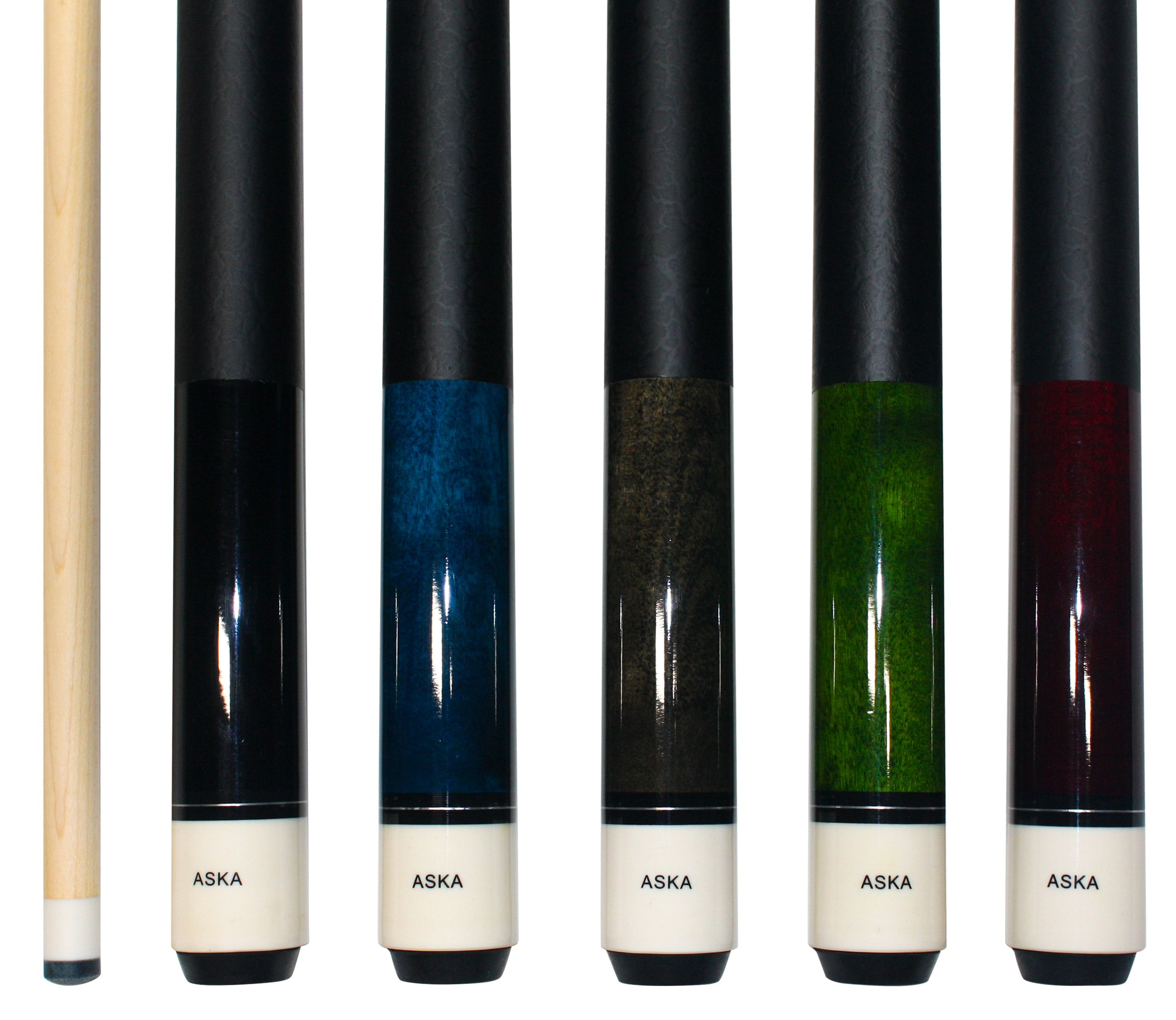 Set of 5 Aska L1 Billiard Pool Cues, 58'' Hard Rock Canadian Maple, 13mm Hard Le Pro Tip, Mixed Weights, Black, Blue, Grey, Green, Red. Perfect Quality. Improve Your Game Room