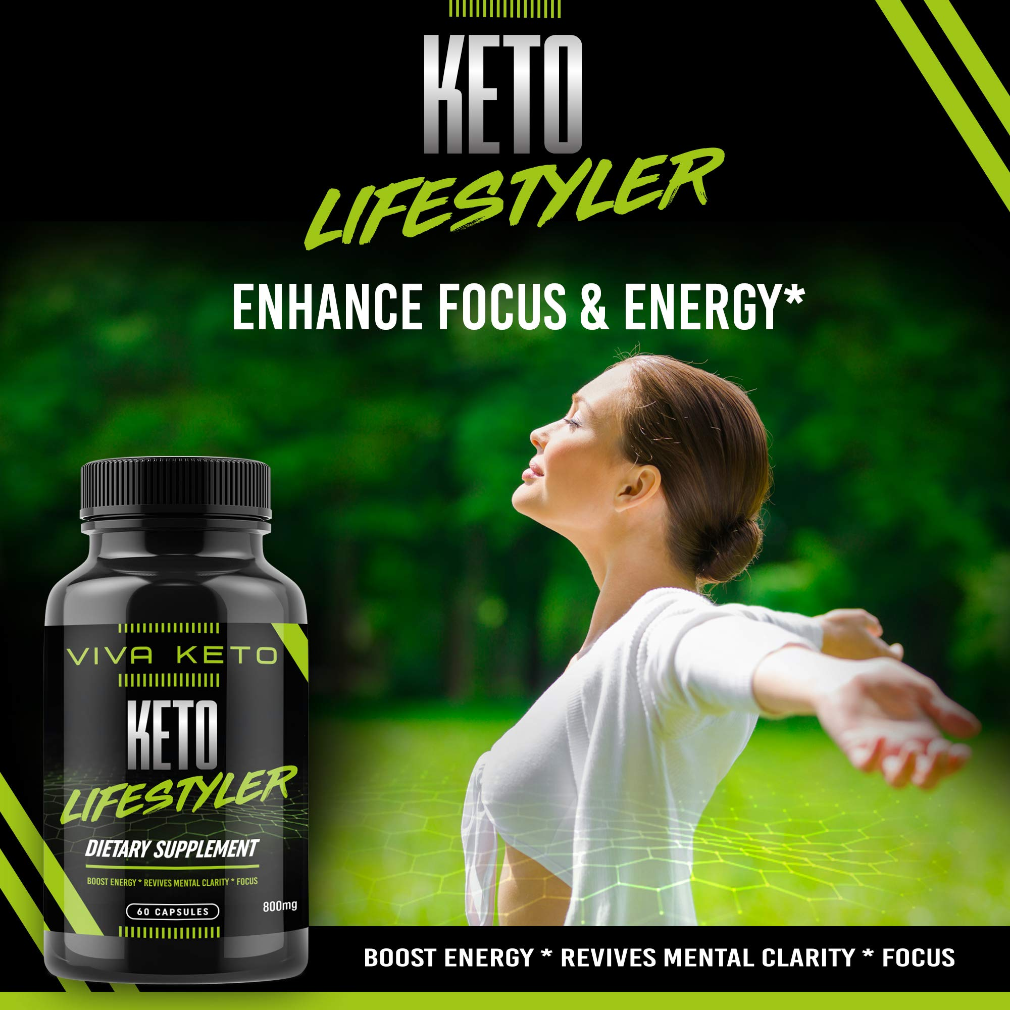 Keto Diet Pills Appetite Suppressant Supplement - Exogenous Ketones Ketogenic Diet Pills - Boosts Metabolism and Supplies Energy- 60 Capsules by Keto Lifestyler (Image #2)