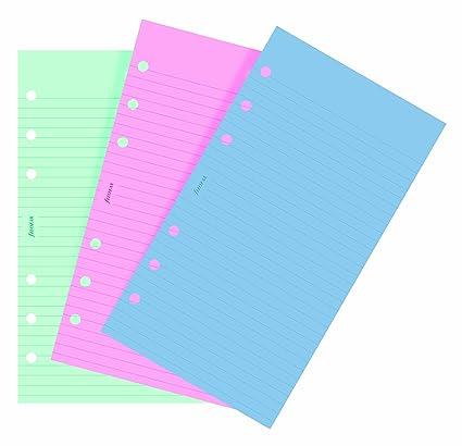 Filofax Personal - Recambio para agenda de anillas, hojas rayadas para notas, color verde, rosa y azul