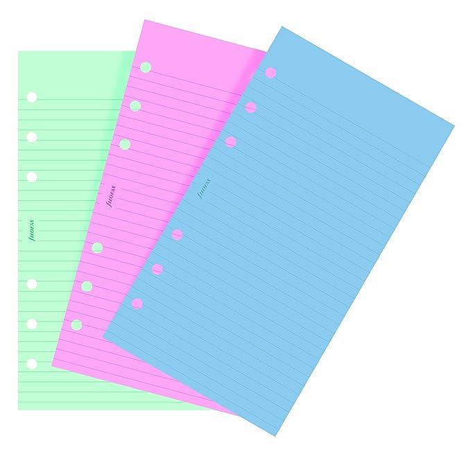 4 opinioni per Filofax- Ricambio fogli a righe per quaderno ad anelli, colori alla moda