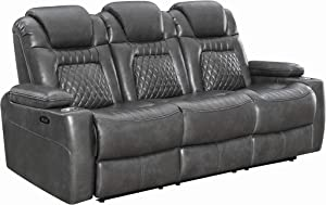 Coaster Home Furnishings Korbach Upholstered Reclining Seat and Power Headrest Charcoal Sofas, Gray
