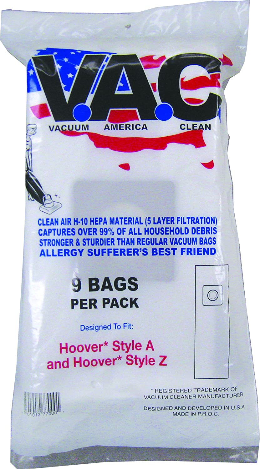 VACUUM AMERICA CLEAN VAC 29 Hoover Style A and Hoover Style Z H-10 HEPA Filtration (Pack of 9)
