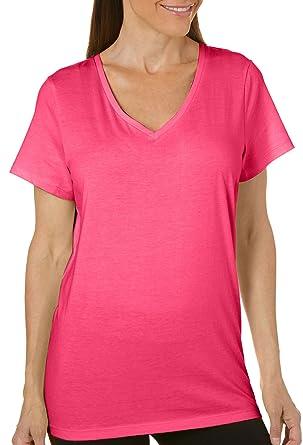 af2ab117f775 HUE Sleepwear Women s Solid Short Sleeve V- Neck Sleep Tee at Amazon ...