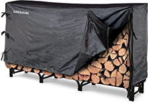 Landmann 82443 Firewood Rack with Cover, 8-Feet, Black