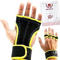 Mava Sports - Guantes de piel acolchados para entrenamiento cruzado con soporte de muñeca para entrenamientos en gimnasio, levantamiento de pesas y fitness, acolchado de piel, sin callosidades, para hombres y mujeres
