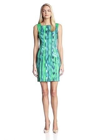 Elie Tahari Women's Davis Emerald Bay Print Stripe Cotton Sateen Leather Dress, Vista, 0