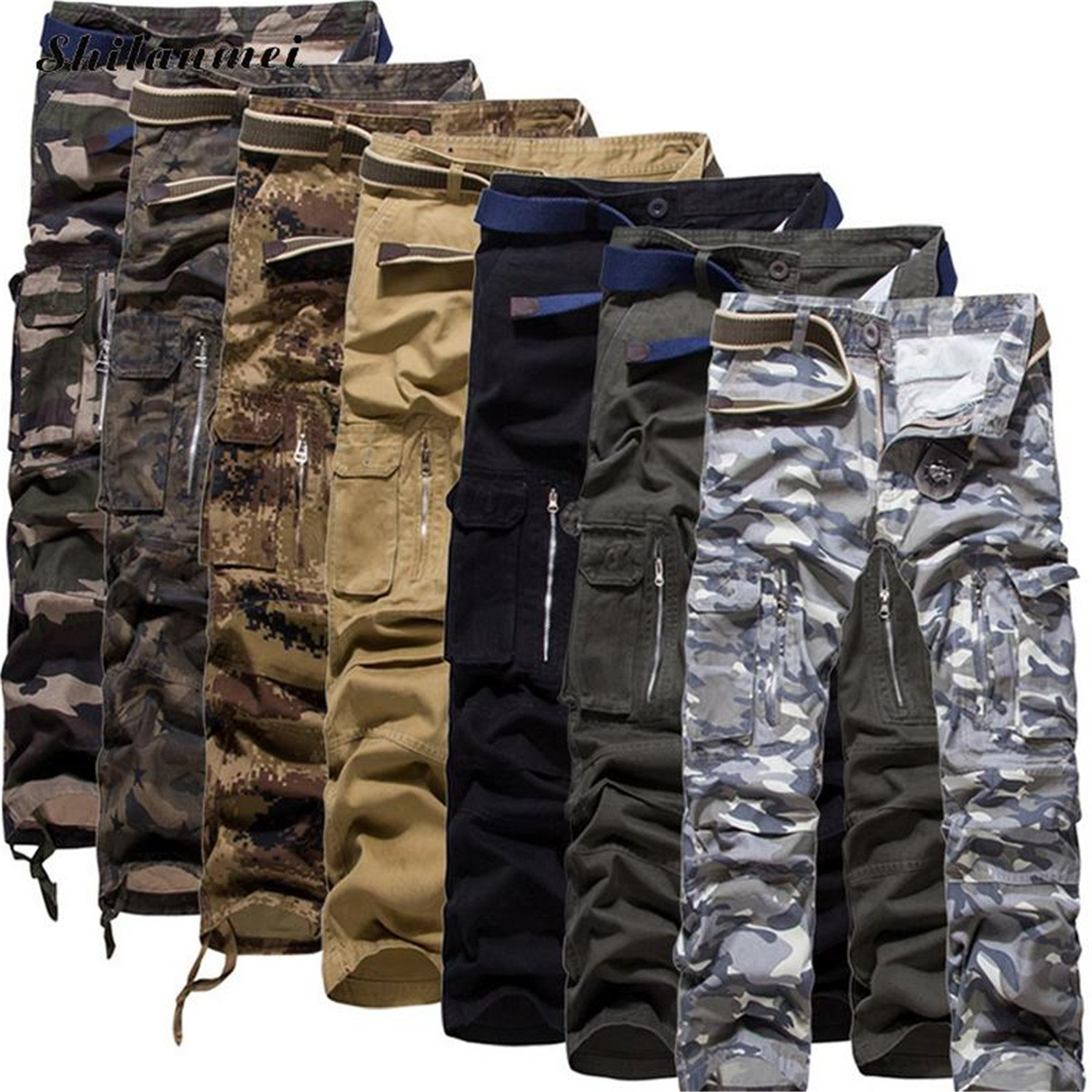 Richard Nguyen Men Jeans Mens Jeans With Side Pockets New Cotton Middle Waist Men Casual Pant Camouflage Jean Pants