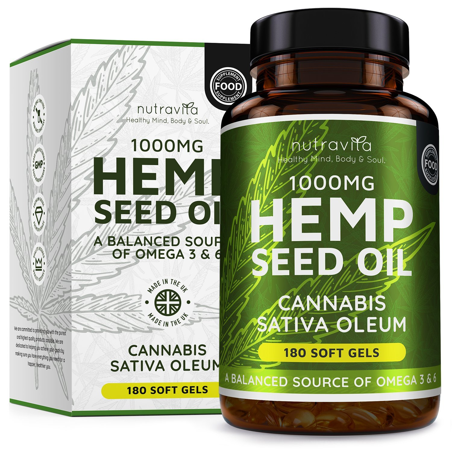 Hemp Oil 1000mg Supplement - 180 Soft Gel Capsules of Pure Cold Pressed  Hemp Seed Oil - Rich in Omega 3 & 6-6 Months Supply - Made in The UK by
