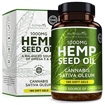Hemp Oil 1000mg Supplement | 180 Soft Gel Capsules of Pure Cold Pressed  Hemp Seed Oil - Rich in Omega 3 & 6 | 6 Months Supply | Made in The UK by