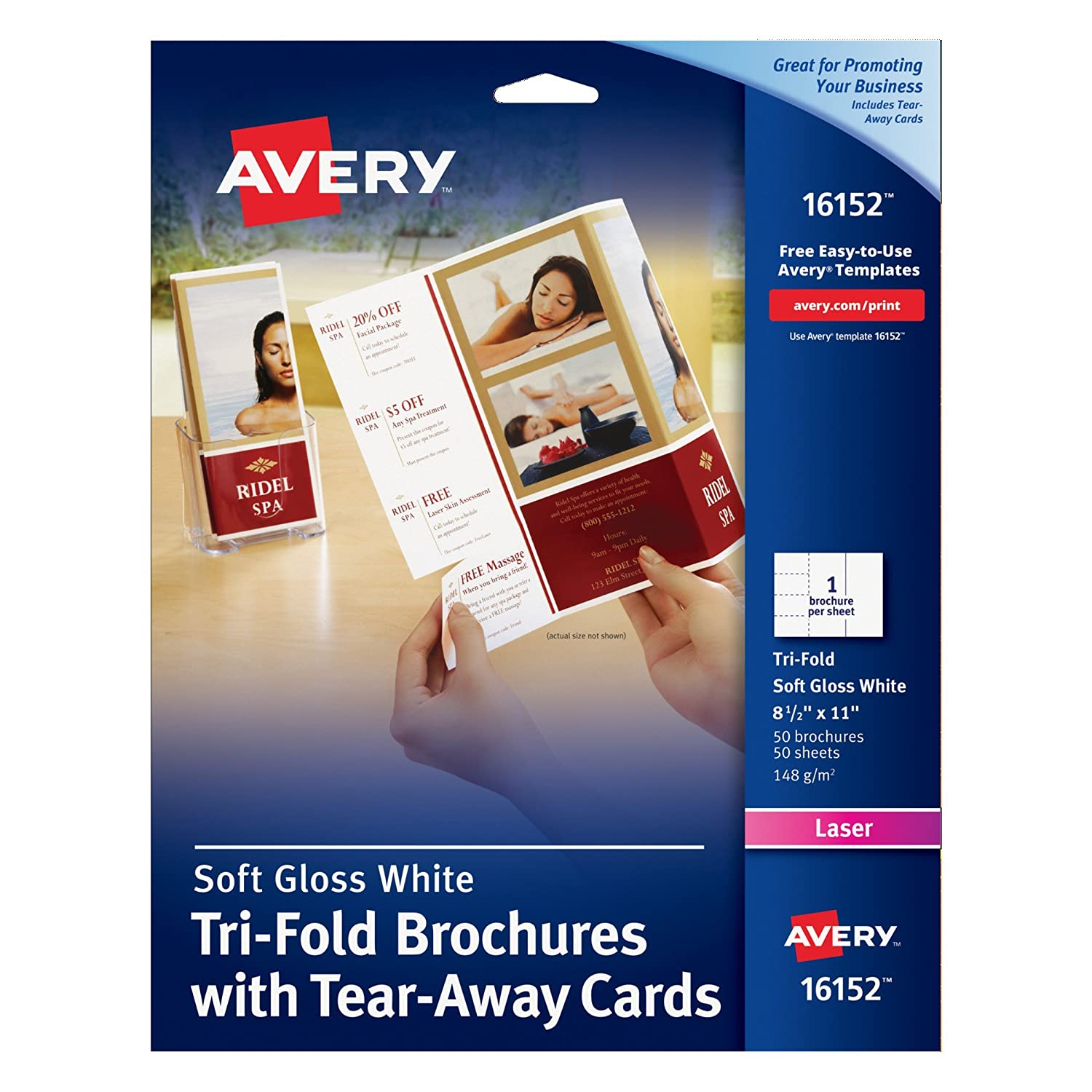 Amazon Avery TriFold Brochure with Tear Away Cards 50 – Tear Away Flyer