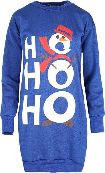 Womens Christmas Fleece Sweatshirt Ladies Snowman Tree Xmas Tunic Mini Dress