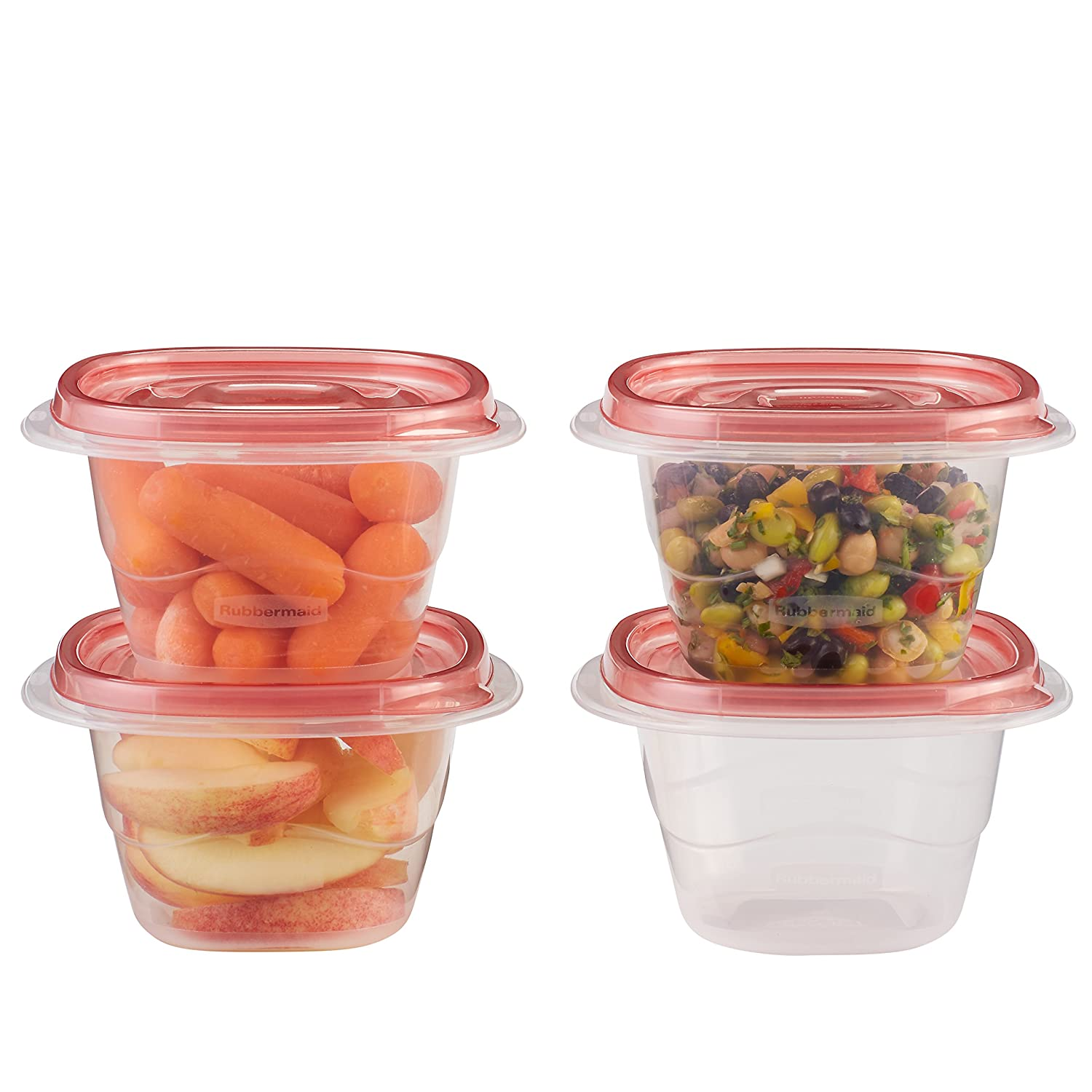 Rubbermaid TakeAlongs Food Storage Containers, Minis, 0.5 Cup, 6-Pack, Tint Chili 1803522