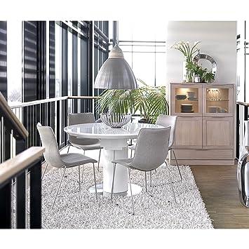 Canett Furniture Bling Modern Esstisch Ausziehbar Rund Weiß