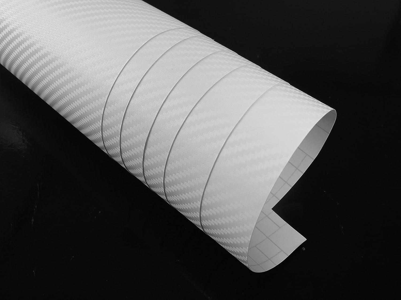 3D blanc Film carbone voiture 200x 152cm Bulle plein air canaux souvent korrigierbar Car Wrapping * Instructions de montage gratuit 6,49& # x20ac
