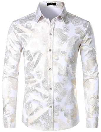 db55cab10 ZEROYAA Mens Hipster Paisley Shirt Luxury Design Slim Fit Long Sleeve  Button Down Shirts Party Costume
