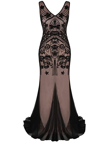 kayamiya Women 1920s Long Prom Gown Beaded Sequin Gatsby Formal Evening Dress: Amazon.co.uk: Clothing