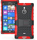 JKase DIABLO Tough Rugged Dual Layer Protection Case Cover with Build in Stand for Nokia Lumia 1520 (Red)