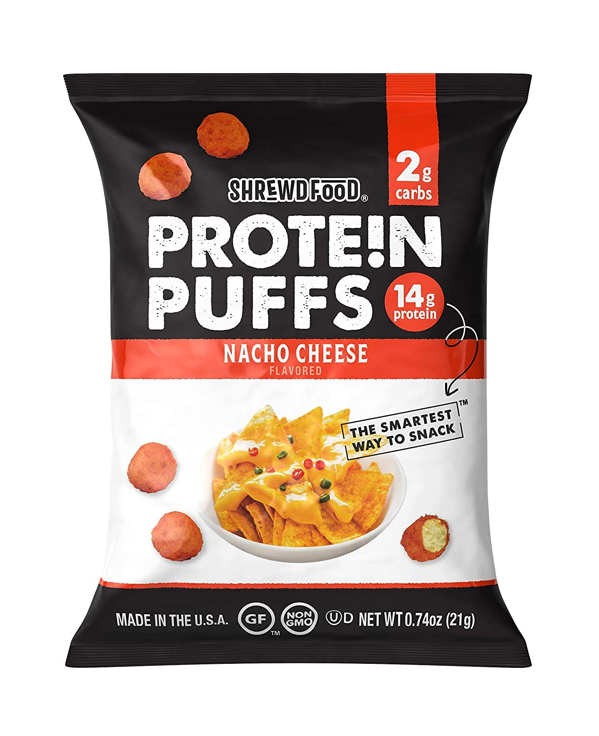 Shrewd Food Protein Puffs, Low Carb Snack, Keto Friendly Crunch, High Protein Crisp, Gluten Free, Soy Free, Peanut Free, 14g Protein - 2g Carbs Per Serving, Nacho Cheese, 8 Pack