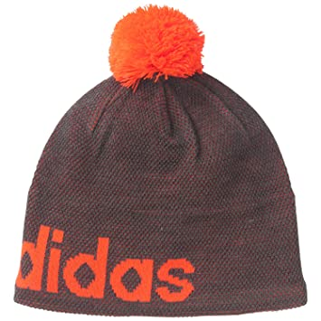 ADIDAS cw linear bobble hat  grey orange   Amazon.co.uk  Sports ... 786db741782